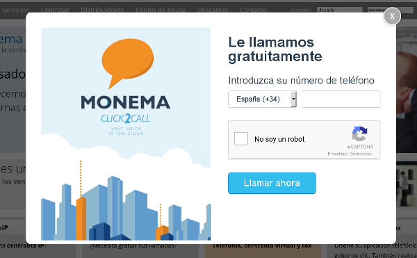 Pop Up Monema.es Le llamamos gratuitamente. Click2call.
